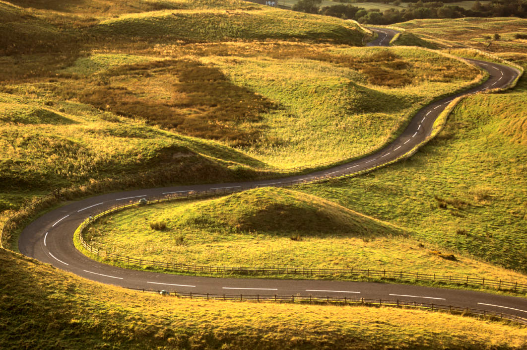 The road ahead for any startup is winding (this picture from Mam Tor near us in Derbyshire)
